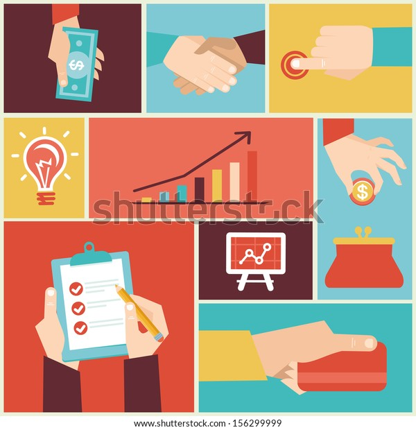 Vector set of hands - clients purchasing work in flat retro style