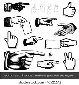vector set: hands - different gestures and styles, 12 items