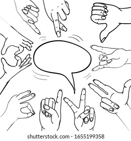 Vector set of hands and gestures. Hands collection - vector illustration.fashionable hand gestures for young people with meaning.hand-drawn.