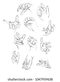 Vector set of hands and gestures. pencil drawing