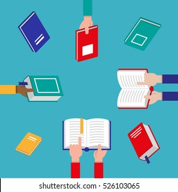 Vector set of hands holding colorful books and people of different nationalities reading books. Concept vector illustration