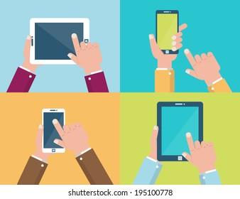 Vector set of hands holding mobile phone and digital tablet in flat design style. Icons with hands using and touching screen. Isolated illustrations on colorful background.