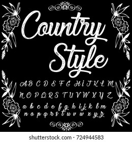 Vector set of handwritten ABC letters, numbers, and symbols. Handcrafted vector script alphabet calligraphy font, icon, letters named Country Style