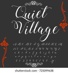 Vector set of handwritten ABC letters. Handcrafted vector script alphabet calligraphy font, letters named Quiet Village. Handwritten letters. Handwritten alphabets. Handwritten fonts