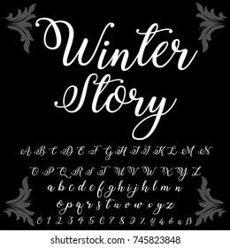 Vector set of handwritten ABC typeface lettering