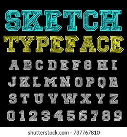Vector set of handwritten alphabet letters. Handcrafted vector script calligraphy fonts named Sketch Typeface