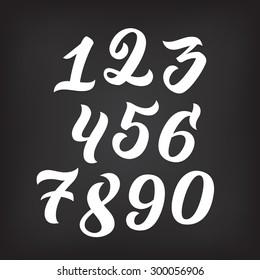 Vector set of handwritten numbers, handmade calligraphy