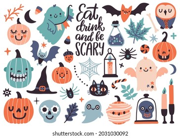 Vector set with handwritten text 'Eat, drink and be scary' and cute Halloween icons: ghosts, bat, pumpkins, Halloween candles. Doodle collection with holiday decorations. Funny Halloween greeting card