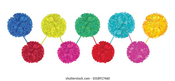 Vector Set of Happy Colorful Birthday Party Paper Pom Poms. Great for handmade cards, invitations, wallpaper, packaging, nursery designs.