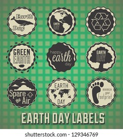 Vector Set: Happy Earth Day Labels