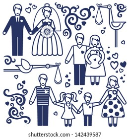 Vector set with happy  families. Father, mother and children.  Design elements, designers toolkit.