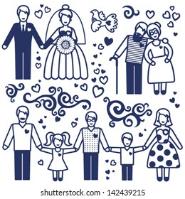 Vector set with happy  families. Grandmother, grandfather, father, mother and children.  Design elements, designers toolkit.