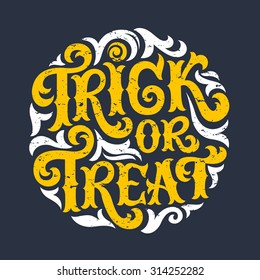 Vector set of Happy Halloween lettering, Trick or Treat. Hand drawn text for invitation or greeting cards, party and sale design. Typographic holidays background