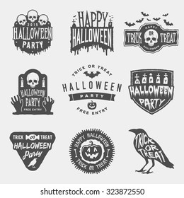vector set of happy halloween vintage badges, emblems and labels. halloween party templates with pumpkin, skull, graveyard, raven