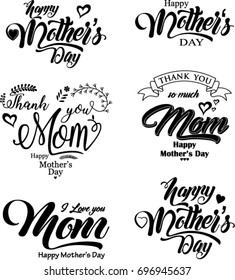 Vector set of Happy Mother's Day, vector illustration