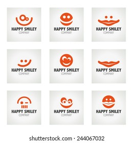 Vector set of Happy Smiley logo icons - Vector Illustration