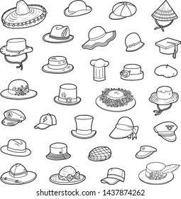 Vector set of hats, black and white collection of cartoon clothes and accessories