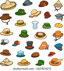 Vector set of hats, color collection of cartoon clothes and accessories