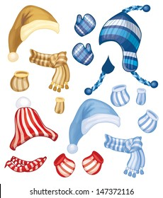 Vector set of hats, scarfs and gloves for design isolated.