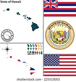 Vector set of Hawaii state with flag and icons on white background