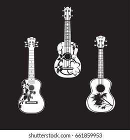 Vector set of hawaiian guitar white templates on black background. Traditional ukulele, string plucked musical instruments in flat style.