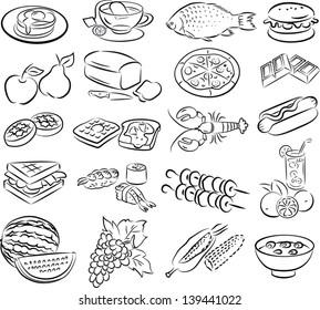 vector set of healthy foods in line art mode