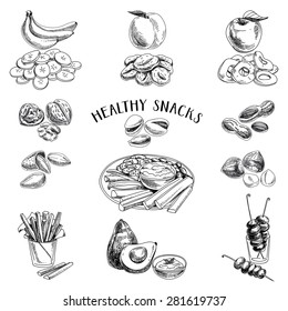Vector set of healthy snacks. Healthy food. Vector illustration in sketch style. Hand drawn design elements.