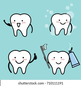 Vector set of healthy tooth