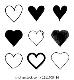 Vector set heart black  outline draw the hand.