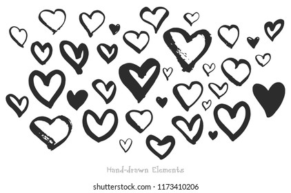 Vector set of heart shapes made by hand. Isolated on white