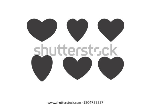 Vector Set Hearts Heart Templates Variety Stock Vector Royalty Free 1304755357