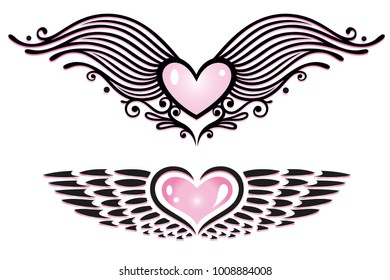 Vector Set of hearts with wings.