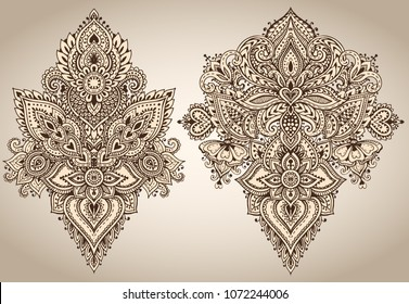 Henna Mehndi Vector : Vector pattern henna floral elements based stock 654048895