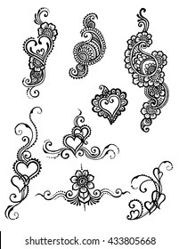 vector set of henna style hearts and paisley design.  Paisley Mehndi Tattoo Drawing collection