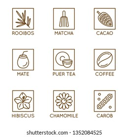 Vector set of herbal organic tea and drinks badges and icons in linear style - healthy drinks caffeine free packaging design elements - matcha, mate and puer tea,  cacao, carob and coffee, hibiscus