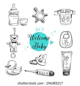 Vector set of highly detailed hand drawn baby stuff. Vintage signs collection.