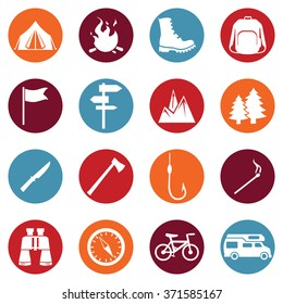 Vector Set of Hiking and Camping icons
