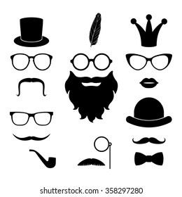 Vector set of hipster elements - mustache, glasses, beard, hat, lips, whisker, crown, feather, monocle. Best match elements for photo sessions and party. Masks set. Party mask. Mask collection