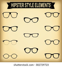 Vector set of hipster glasses