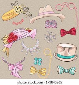 Vector set hipster millinery, scarves, bows, jewelry, glasses