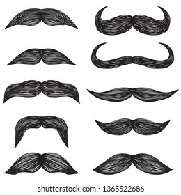 Vector set of hipster mustache. Decoration of a male face. Retro style. Vector illustration.