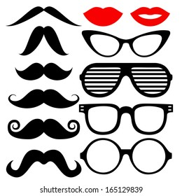 Vector set of hipster mustache with glasses, heart and lips