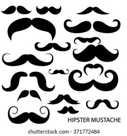 Vector set of hipster mustache. isolated objects