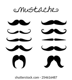 Vector set of hipster mustache, ten variation. Black men mustaches collection, simple style, silhouette drawing design, vector art image illustration, isolated on white background