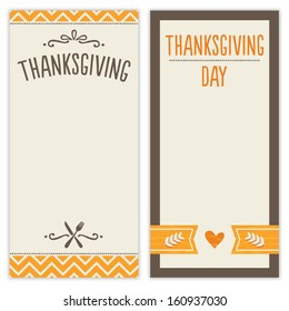 Vector set of hipster Thanksgiving Day backgrounds in orange and brown. Great for menu, invitation or shopping list templates.