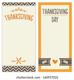 Vector set of hipster Thanksgiving Day backgrounds in brown and orange. Great for menu, invitation or shopping list templates.