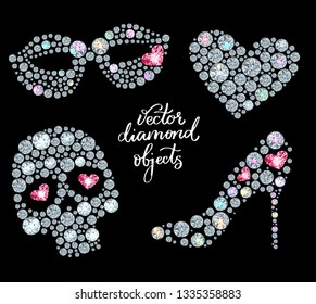 Vector set of holiday elements,  made with shiny diamonds
