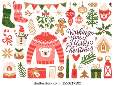 Vector set of holiday icons: sweater, Christmas ornaments, gingerbread cookies, candles, gift, snowman. Kids illustration for Christmas time. Scrapbook collection. Winter greeting card. Happy New Year.