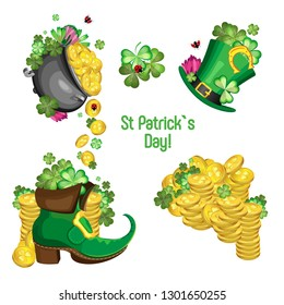 Vector set for the holiday St. Patrick's Day. Attributes of the holiday: gold coins, clover and hat with Leprechaun's boot. Transparent background