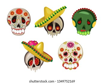Vector set for the holidays painted skull. Isolated objects on a transparent background.